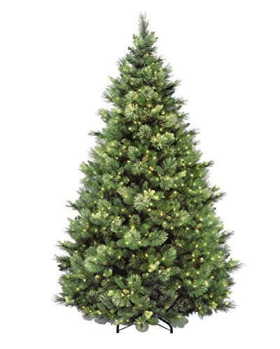National Tree 7.5 Foot Carolina Pine Tree with Flocked Cones and 750 Clear Lights, Hinged - Pine Christmas Trees