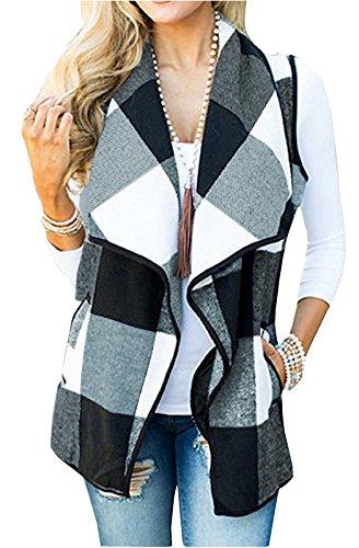 FOXRED Women's Turn-down Collar Casual Slash Hem Plaid Sleeveless Open Front Cardigan Vest with Pocket,Multicolor (1 Womens Fleece Vest)
