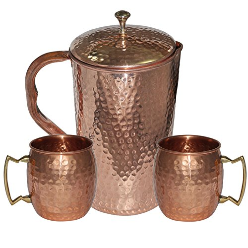 DakshCraft High Quality Pure Copper Jug With 2 Pure Copper Hammered Moscow Mule Mug Set