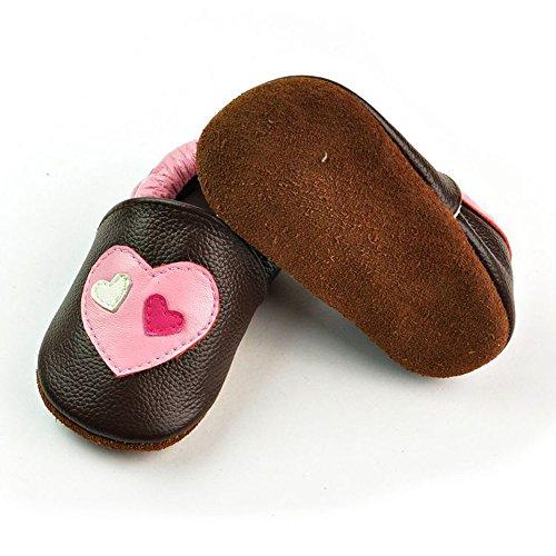 Vesi-Zapatos para bebé Primeros Pasos Zapatillas Infantiles para Niño/Niña Antideslizante Respirable Rosa Talla XL:18-24 Meses Corazón