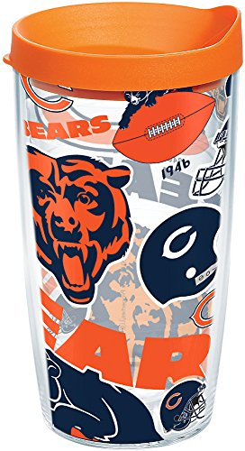 Tervis 1247848 NFL Chicago Bears All Over Tumbler with Wrap and Orange Lid 16oz, Clear -