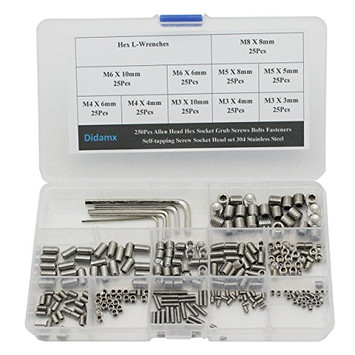 Didamx 250Pcs M3 M4 M5 M6 M8 250Pcs Allen Head Hex Socket Grub Screws Bolts Fasteners Self-tapping Screw Socket Head set 304 Stainless Steel with Hex L-Wrenches