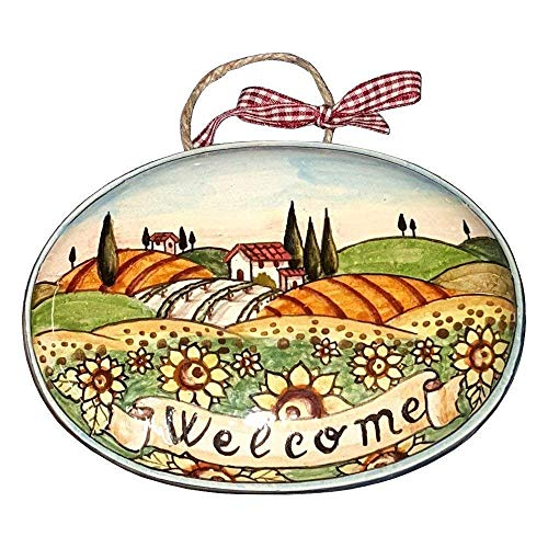 CERAMICHE D'ARTE PARRINI - Italian Ceramic Art Pottery Tile House Plaques Decorative Sunflowers Welcome Landscape Hand Painted Made in ITALY Tuscan ()
