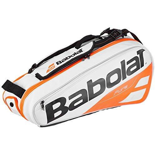 Babolat 2018 Best Quality Pure 6 Racquet Tennis Bag (White / Orange)