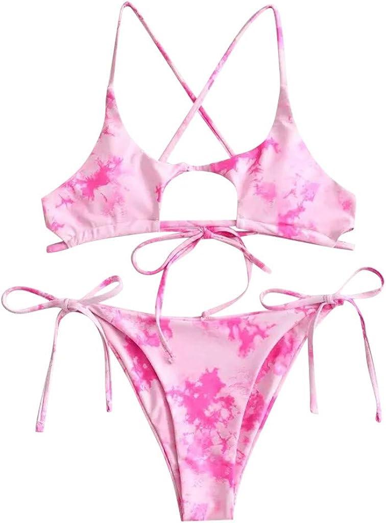 Dainzusyful Women Bathing Suit 2 Pieces Swimsuit Tie-Dye Cut Out High Waisted Tummy Control Two Piece Swimwear