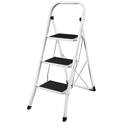 Home Discount 3 Step Ladder Heavy Duty Steel Folding Portable