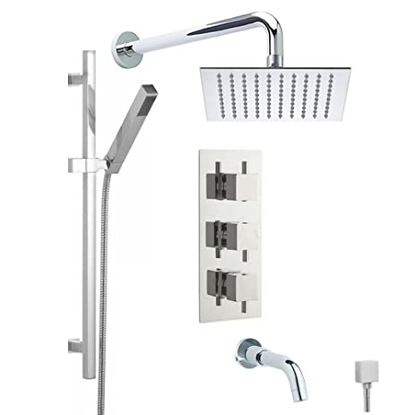Wonderful Hudson Reed Thermostatic Shower System With Triple Divertor Brass Valve,  8u0026quot; Square Rainfall Head