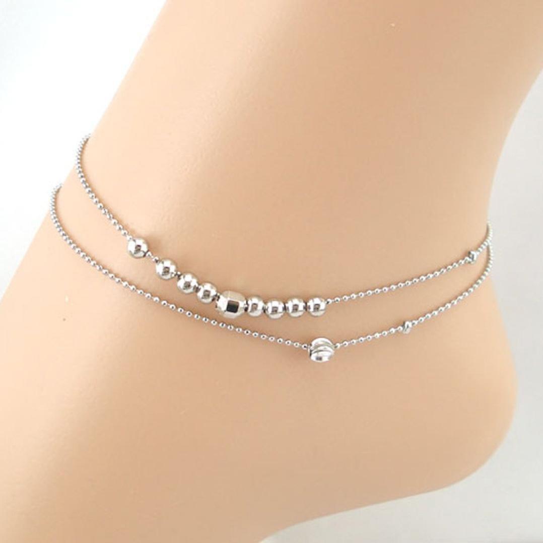 YJYdada Anklet Bracelet Double Ball Chain Women Chain Anklet Bracelet Sandal Beach Foot Jewelry