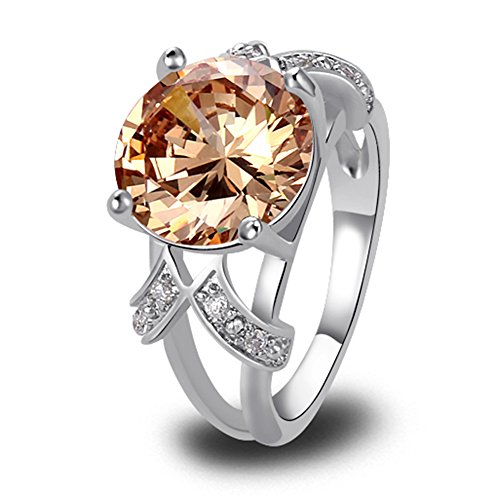 Psiroy 925 Sterling Silver Created Morganite Filled Solitaire Promise Ring Size 12