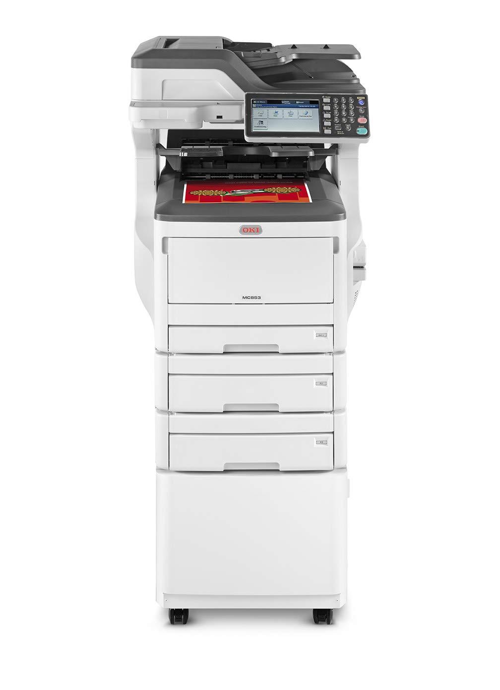 OKI MC853dnct LED 23 ppm 1200 x 600 dpi A3 - Impresora multifunción (LED, Impresión a Color, 1200 x 600 dpi, 535 Hojas, A3, Negro, Blanco)
