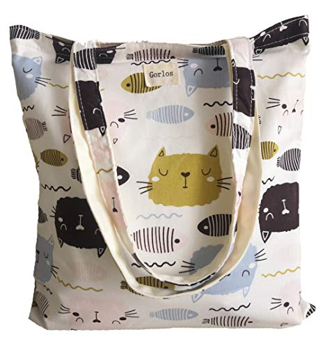 Canvas Tote Carrying Bag for Book Lovers, Readers, and Bibliophiles, Travel bag, shopping bag, Reusable Grocery Bags, (60-No closure-cat+fish-ginger)]()
