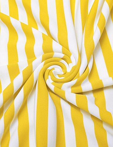 A E Nero Acevog A Donne 1 O Manica Estivo Abito line Corta Stile Righe collo giallo Casuale Svasata Uw1vxTaRqU