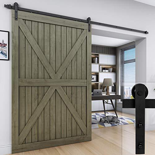 EaseLife 10 FT Heavy Duty Sliding Barn Door Hardware for Wide Opening and Two Openings,I Shape Hanger(10ft Single Door Kit)