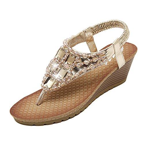 Sandales à talon compensé avec strass perles Chaussures de plage style Bohême L`été pour Femme Fille (38, or)