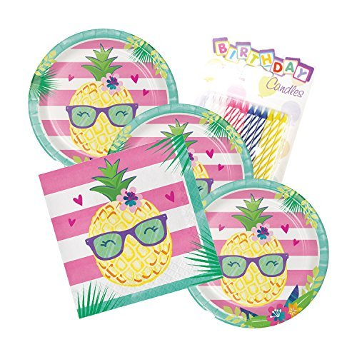 Pineapple N Friends Party Theme Plates and Napkins Serves 16 With Birthday ()