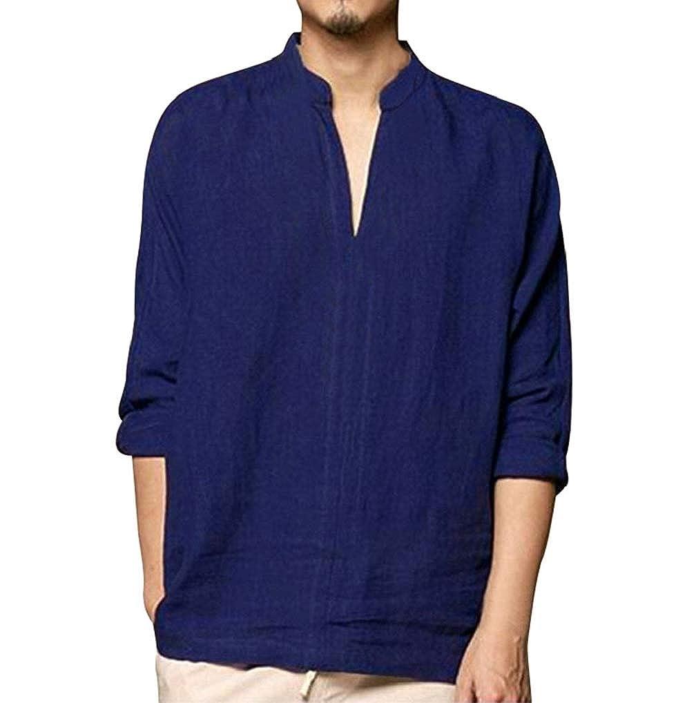 Mens Plain Grandad Collar Shirts TUDUZ Men Henley Neck Roll Up Solid Long Sleeve Cotton Linen Stand Collar Shirts
