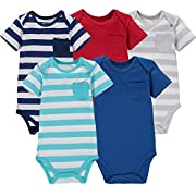 Wan-A-Beez 5 Pack Baby Girls' and Boys' Newborn and Infant Cotton Short Sleeve Bodysuits (6-9 Months, Stripe Pocket)