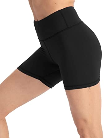 "dea4842f7af coastal rose Women's High Waist Workout Shorts Tummy Control Yoga Shorts  4"" Training Bike Shorts"