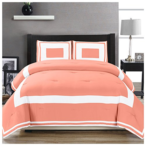 Superior Grammercy Color Blocked Comforter Set with Pillow Shams, Luxury Hotel Bedding with Soft Microfiber Shell, All Season Down Alternative Fill - King/California King, - Bedding Beyond