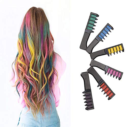 Comb-Non Toxic Washable Hair Color Comb Temporary Hair Color Chalk Combs Kit for Girls Hair Salon Games, Birthday Party,Cosplay and Halloween Hair Dyeing - Pretty Gifts for -