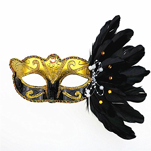 Rehot Masquerade Mask for Women Feather Costume Prom Ball Mardi Gras Halloween Christmas Party Masks (Mardi Gras Mask Costume Ideas)