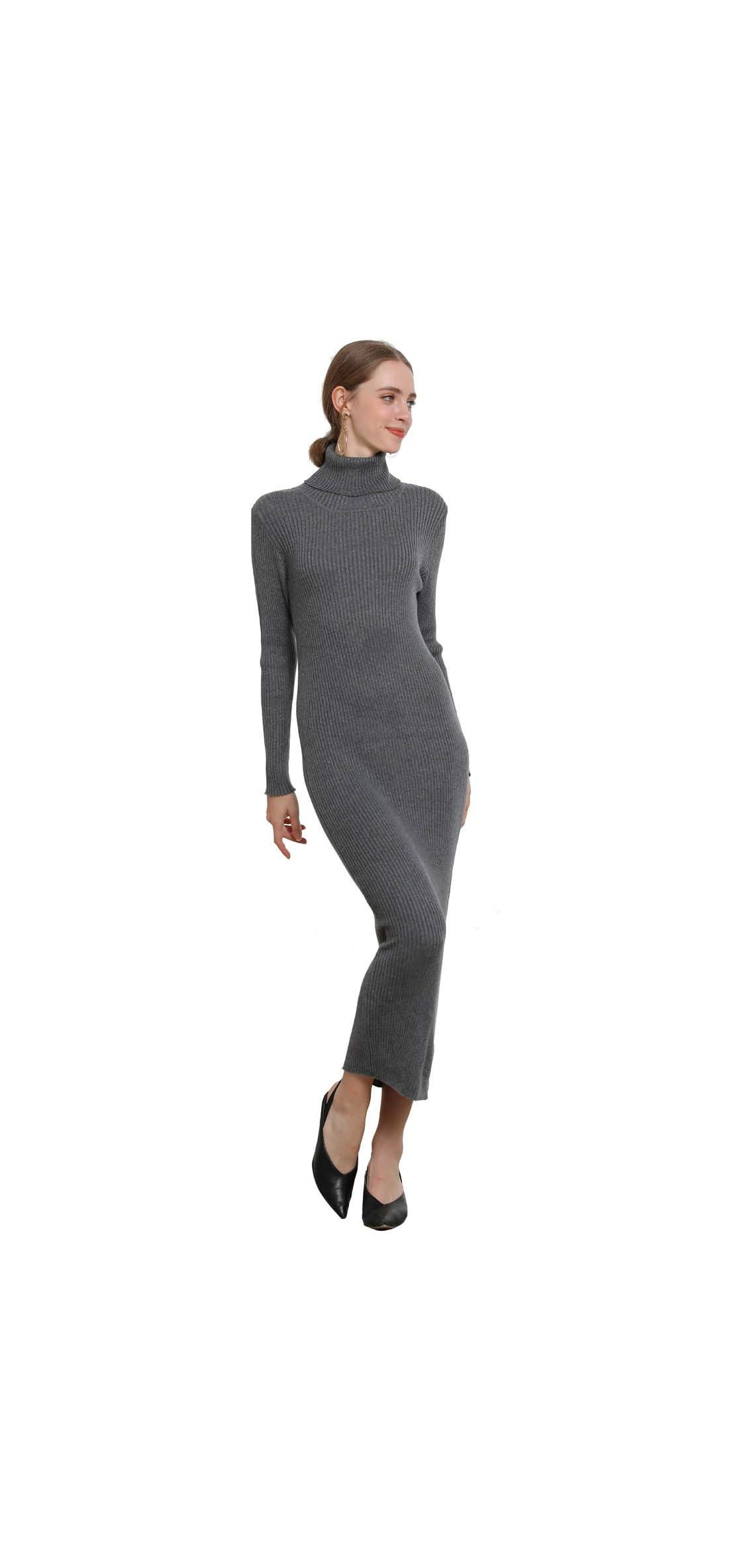 Women's Sweater Dress Cashmere Wool Ribbed Knit Turtleneck Long