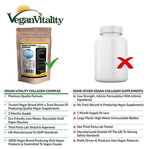 Vegan Collagen Capsules for Skin, Hair, Nails, Joints & Bones with Biotin, Lysine, Bamboo Silica, Zinc, Vitamin C, E & A. 2 Months Supply. Plant Based Collagen Booster for Vegans and Vegetarians