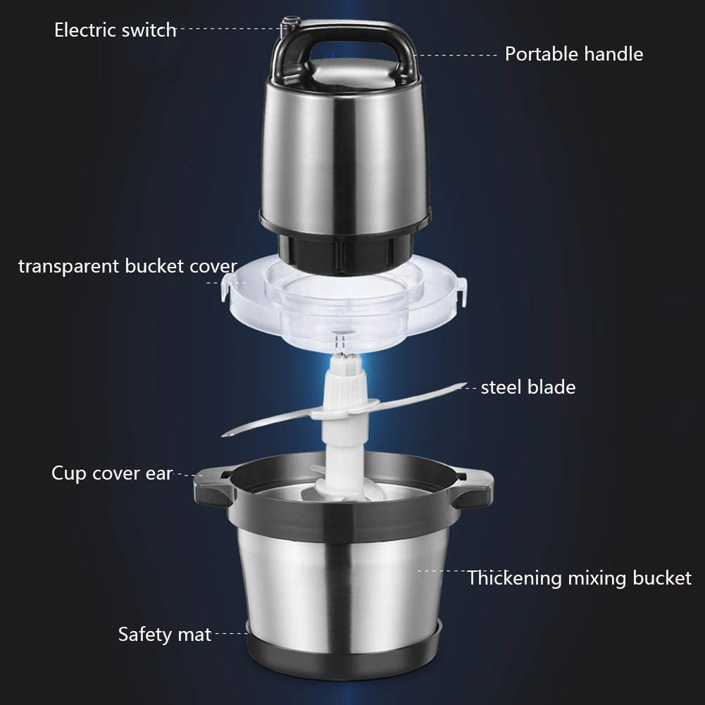 Obst Zerkleinerer Elektrisch Universalzerkleinerer mit Starker Motor 6L Edelstahlsch/üssel 1200W Multizerkleinerer f/ür Fleisch Gem/üse und Babynahrung,6L
