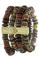 Trendy Fashion Jewelry Rectangle Metal Accent Mix Bead Bracelet Set By Fashion Destination