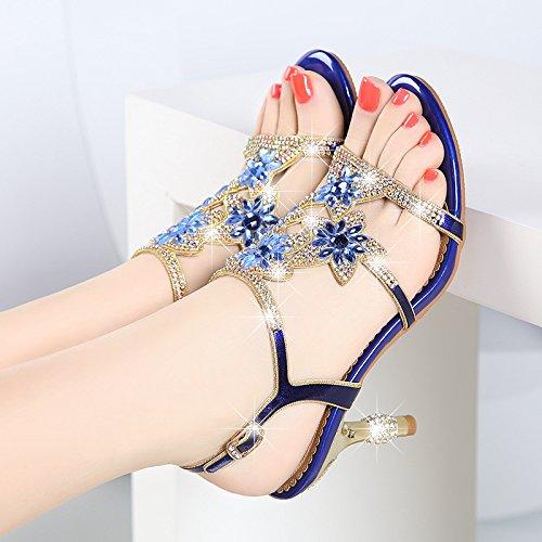 SUHANG Sandalias Sandalias Femeninas De Perforación De Agua Alto Talón Zapatos Cómodo Y Versátil Crystal Zapatos De Mujer, Con Boca De Pescado Zapatos The blue