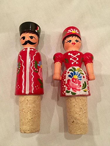 Vintage Pair of Hand Painted and Signed Russian Wine Bottle Corks (4.5