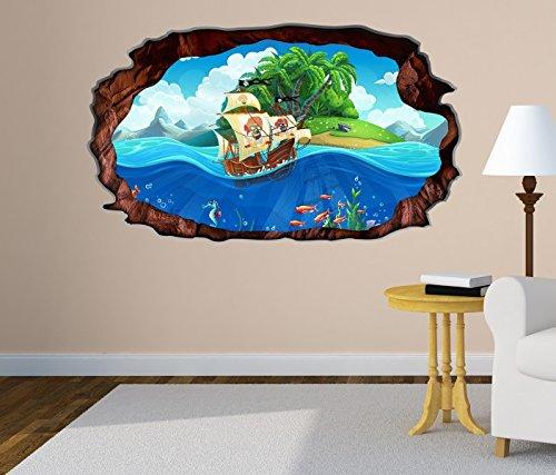 Kinderzimmer Pirat | Amazon De 3d Wandtattoo Kinderzimmer Pirat Schiff Schatzkarte Meer