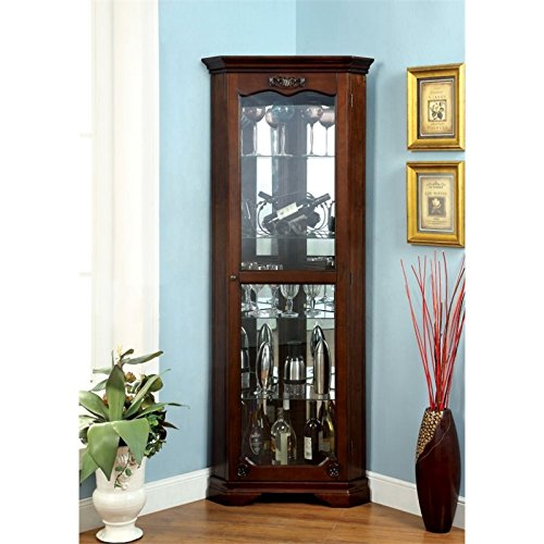 Furniture of America Lennie Traditional Corner Curio Cabinet in (Corner Style Curio Display Cabinet)