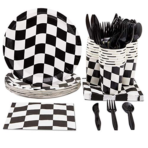 - Disposable Dinnerware Set - Serves 24 - Checkered Flag Party Supplies - Race Car Themed Parties, Includes Plastic Knives, Spoons, Forks, Paper Plates, Napkins, Cups