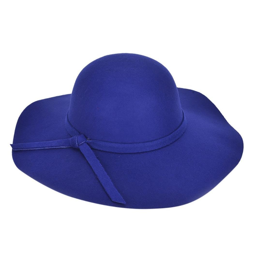 26c7ce68b Amazon.com: Wool Felt Bowler Hats for Women teens Girls, Iuhan Wide ...