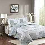 Fancy Collection 3pc California King Bedspread Bed Cover Floral White Blue Beige Reversible New # Isabelle