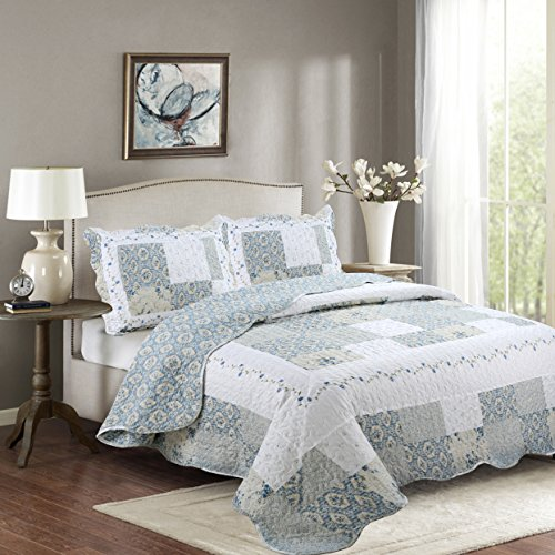Fancy Collection 3pc California King Bedspread Bed Cover Floral White Blue Beige Reversible New # Isabelle by Fancy linen LLC