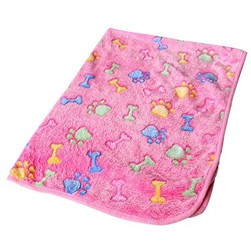 Seroda Pet Dog Cat Puppy Kitten Soft Blanket Doggy Warm Bed Mat Paw Print Cushion,Puppy Blanket Pet Cushion Soft Warm Sleep Mat (S (60*40CM), Pink-bone)