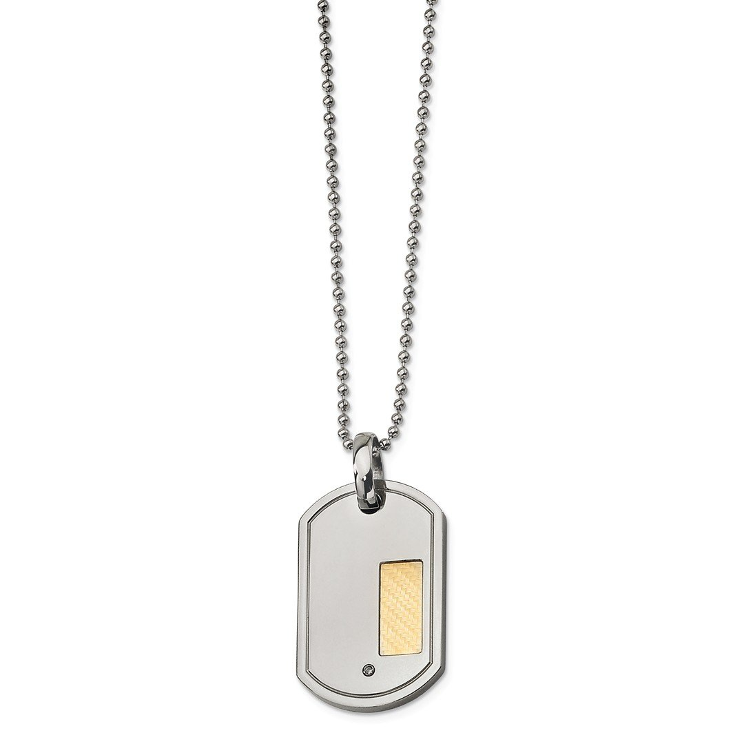 ICE CARATS Stainless Steel 18k Gold Plating .01ct. Diamond 24 Inch Chain Necklace Man Dogtag Fine Jewelry Gift Set For Women Heart