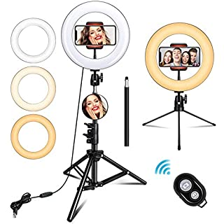 "TUKTOBE 10"" Ring Light with Stand, Selfie Ring Light with Tripod Stand & Cell Phone Holder for Live Stream, YouTube Video, Makeup, Dimmable LED Camera Ringlight Compatible with iPhone Android"