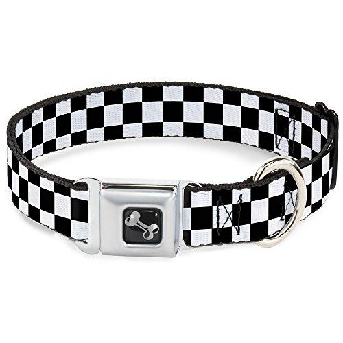Buckle-Down Seatbelt Buckle Dog Collar - Checker Black/White - 1