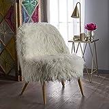 Soho Glam White Faux Fur Chair - Shaggy Faux Fur Accent Chair - Faux Sheepskin Chair