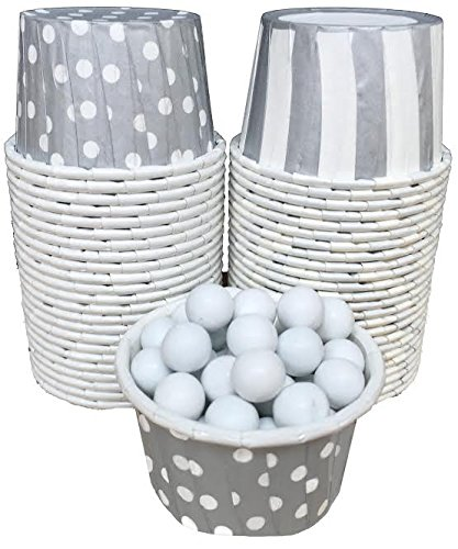 Candy Nut Mini Baking Paper Treat Cups - Silver White - Stripe Polka Dot - 48 Pack]()