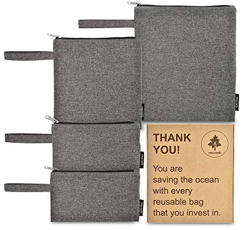Reusable Sandwich Bags and Snack Bags 4 Pack - Fabric Reusable Baggies, Keeps Food Fresh   Food Safe Inner Lining Keeps Food Warm or Cold   Eco-Friendly, Non-Toxic & Easy - Zipper Sandwich Reusable