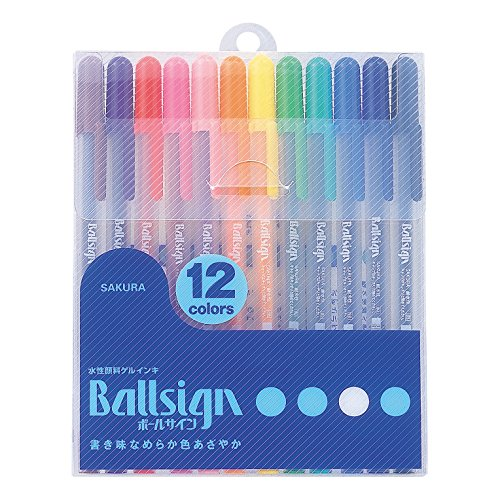 Sakura Gel Ink - Sakura Gel Ink Ballpoint Pen, Ball Sign (Gelly Roll) 12 Color Set (PGB12)