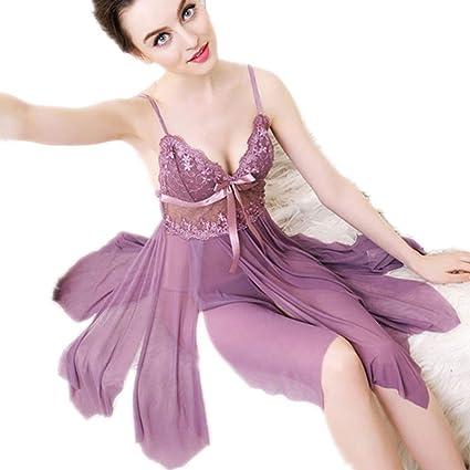 TK-show Camisón de Encaje camisón Femenino de Gran tamaño Sexy Pijamas Transparente lencería Sensual