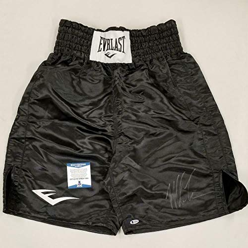 MIKE TYSON Autograph Signed Black Everlast Boxing Trunks ~ Beckett BAS COA - Beckett Authentication - Autographed Boxing Robes and Trunks
