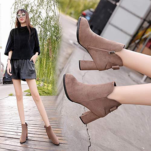 Cute girl Herbst Und Winter High Heel Dick Mit Rundem Kopf Koreanische Version des Bug Frauen Schuhe Kurze Stiefel Damen Stiefel Stiefel Blanken Stiefel Aus Baumwolle