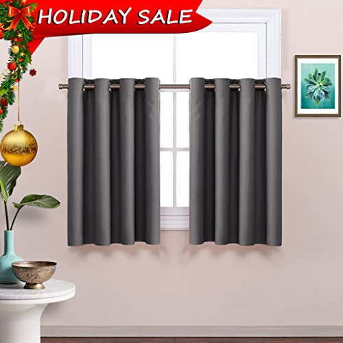 Grey Blackout Window Valance for Kitchen - Thermal Insulated Blackout Grommet Top Tier Curtain for Cafe Store by NICETOWN (One Panel, 52W by 36L Inches, Grey)