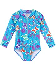 TFJH E Kids Girls Rashguard Swimsuit UV 50+ Long Sleeve One Piece Swimwear Zip